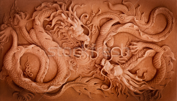 Chinese Style Double Dragon Abstract Stock photo © koratmember