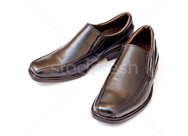 black geniune leather businessmen's shoes on white Stock photo © koratmember