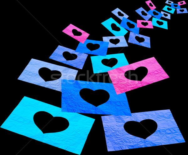 Absztrakt szív lyuk durva papír izolált Stock fotó © koratmember