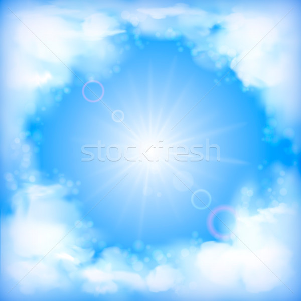 Sky vector design, white clouds, sun, blur Stock photo © kostins