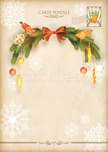 Christmas Vintage Holiday Vector Postcard Stock photo © kostins