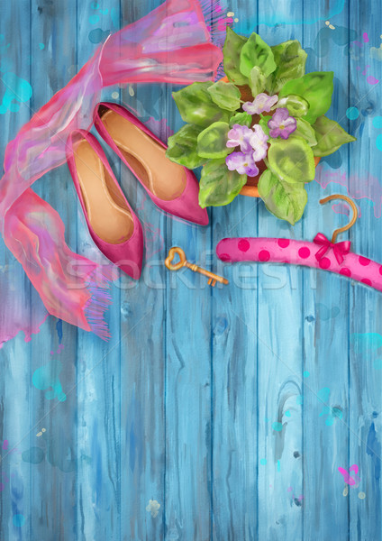 Aquarel top romantische schoenen zijde Stockfoto © kostins