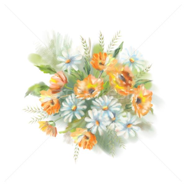 Aquarela pintado flores ilustração buquê original Foto stock © kostins