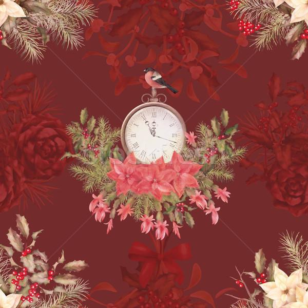 Noel Retro kuş çiçekler kâğıt Stok fotoğraf © kostins