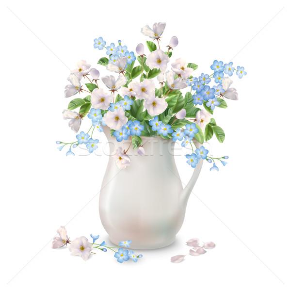 Flores de primavera jarra vector primavera ramo cerámica Foto stock © kostins