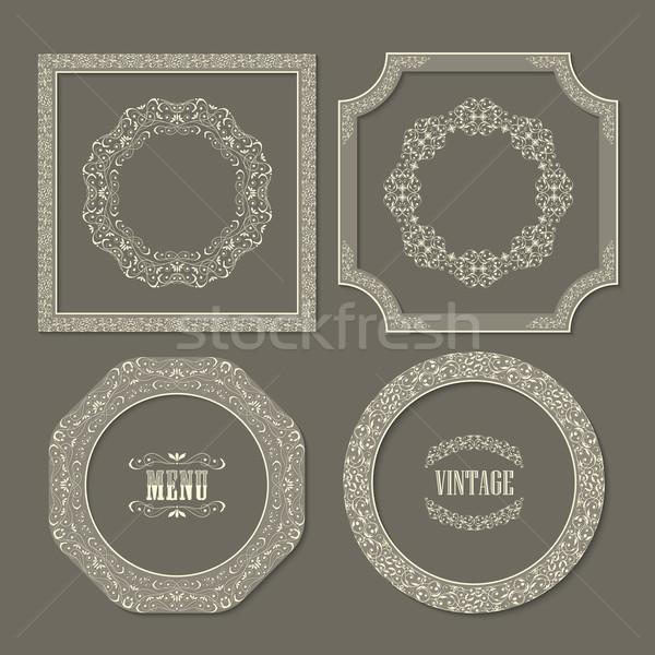 Foto stock: Establecer · vintage · vector · marcos