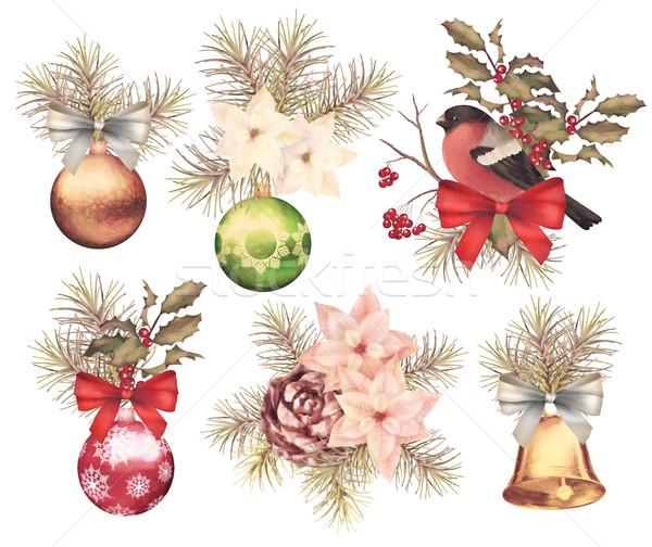 Christmas retro watercolor composition set Stock photo © kostins