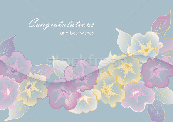 Floral template greeting card with pastel flowers Stock photo © kostins