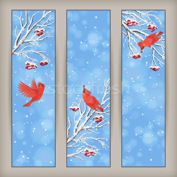 Vertical Christmas Banners Bird Rowan Branches Stock photo © kostins