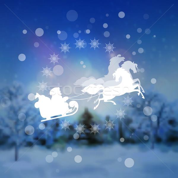 Santa Riding Sleigh Christmas Background Stock photo © kostins