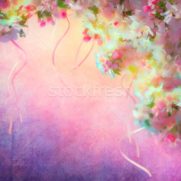 Primavera flor de cereja aquarela pintura estilo floral Foto stock © kostins