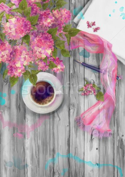 весны акварель Top мнение чистый лист бумаги лист Сток-фото © kostins
