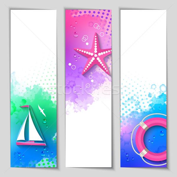 Vector mariene aquarel banners abstract ingesteld Stockfoto © kostins