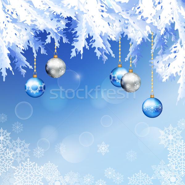 Karácsony fenyőfa ágak vektor karácsony éjszaka Stock fotó © kostins