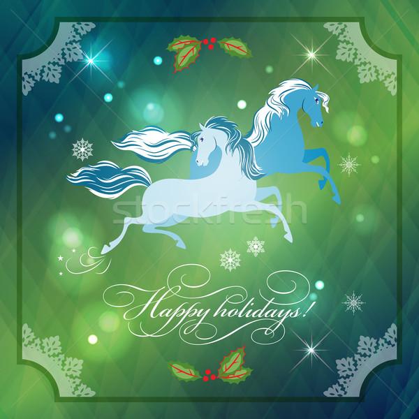 Foto stock: Natal · cavalos · abstrato · noite · lua · renda
