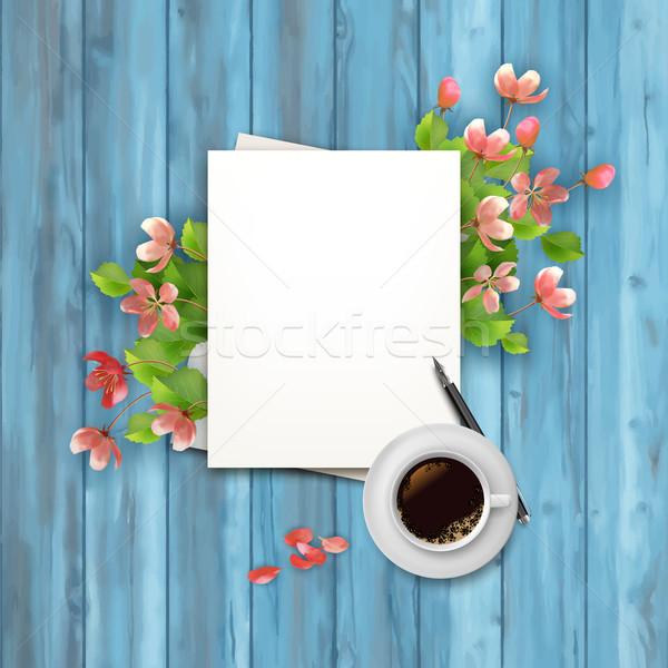 Stock fotó: Tavasz · felső · kilátás · vektor · üres · papír · lap