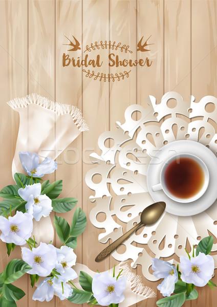 ストックフォト: ブライダル · シャワー · 招待 · テンプレート · 結婚式招待状 · カード