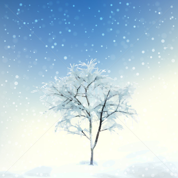 Winter Digital Watercolor Landscape Stock photo © kostins