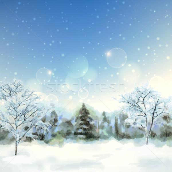 Kış Dijital Suluboya Manzara Artistik Boyama Stok
