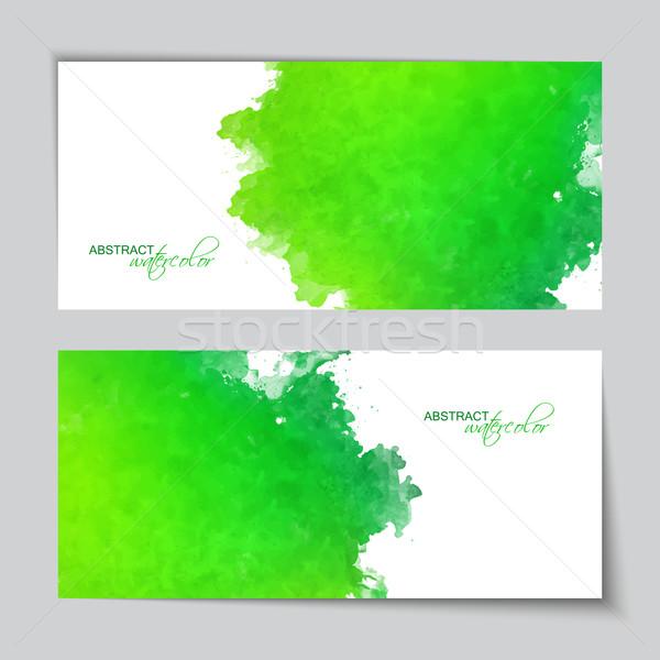 Abstrakten Vektor Wasserfarbe grünen Banner Grunge Stock foto © kostins