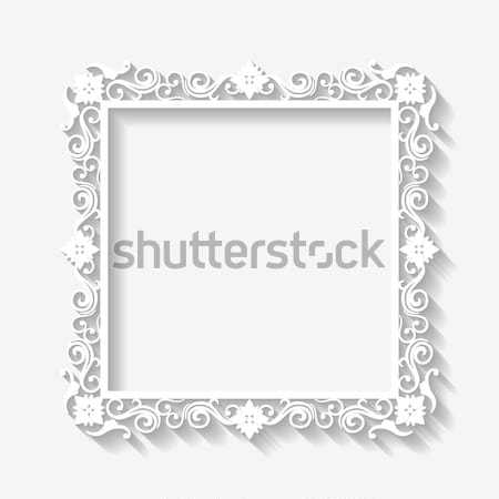 Vector vintage baroque white frame Stock photo © kostins