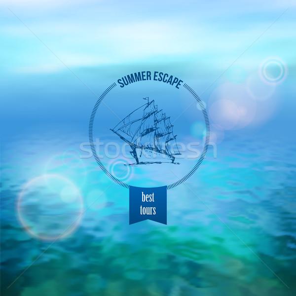 Foto stock: Mar · vetor · marinha · panorâmico · paisagem