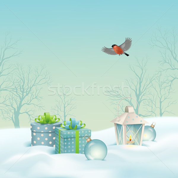 вектора Рождества зима пейзаж подарки снега Сток-фото © kostins