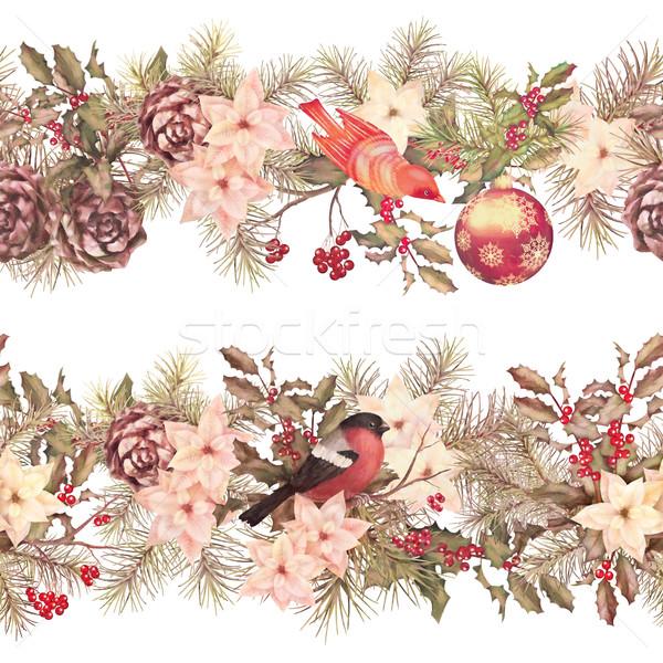Рождества бесшовный гирлянда ретро акварель декоративный Сток-фото © kostins