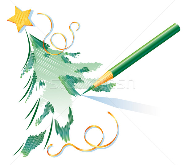 Pencil drawing of a Christmas tree Stock photo © kostins