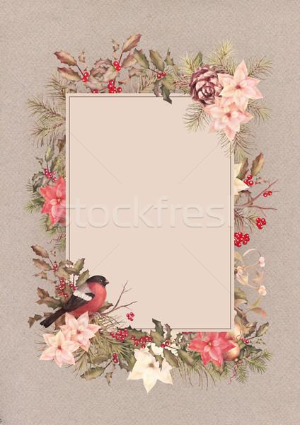 Christmas Vintage Watercolor Greeting Card Stock photo © kostins