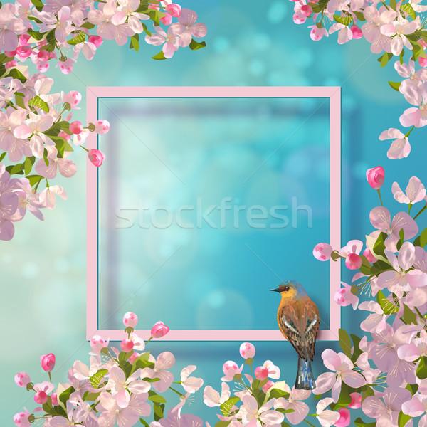 Stock fotó: Tavasz · dekoratív · keret · vektor · madár · alma