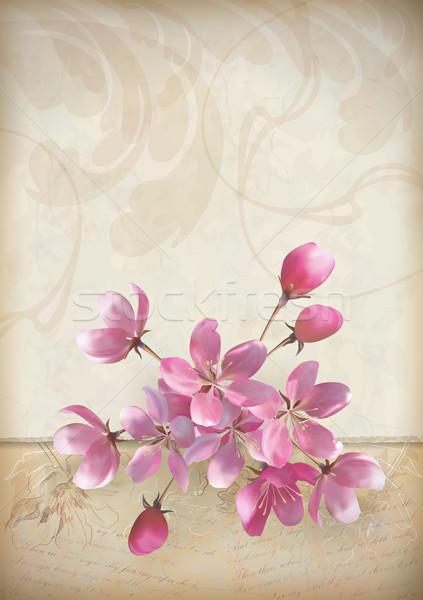 Realistic vector cherry blossom flower arrangement Stock photo © kostins