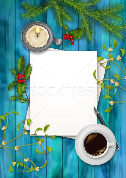 Natal vetor topo ver papel em branco folha Foto stock © kostins