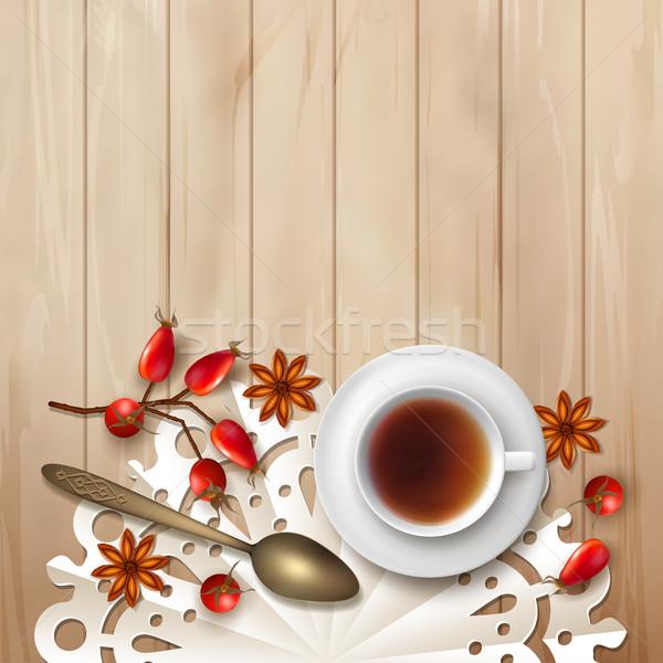Tea idő vektor fa csésze bogyók Stock fotó © kostins