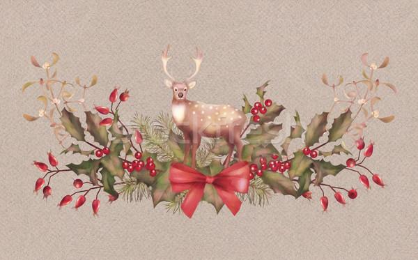 Christmas Watercolor Garland Stock photo © kostins