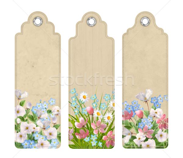Zestaw zakładki kwiaty dekoracyjny wybór Zdjęcia stock © kostins