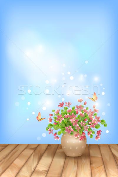 Foto stock: Primavera · rosa · flores · borboleta · céu · romântico