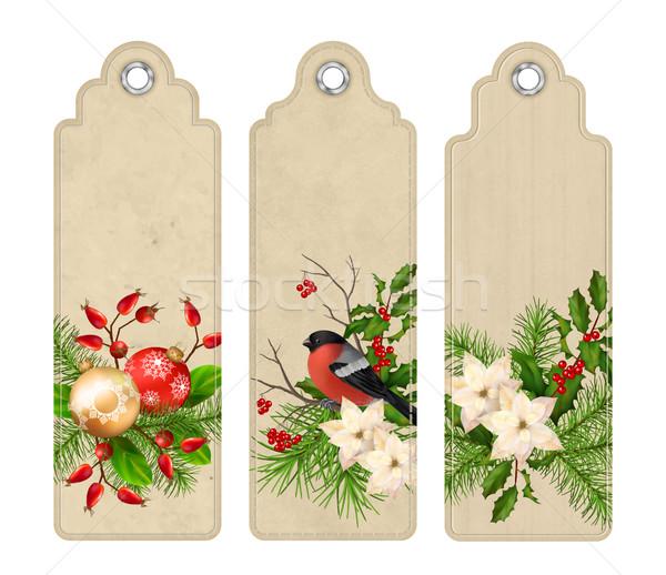 Vektor karácsony könyvjelző szett címkék könyvjelzők Stock fotó © kostins