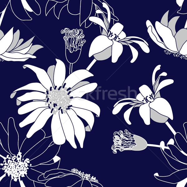 Stock fotó: Végtelen · minta · kék · virágok · virágmintás · absztrakt · dekoratív