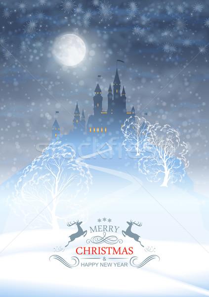 Noel kış kale ay ışığı gökyüzü vektör Stok fotoğraf © kostins