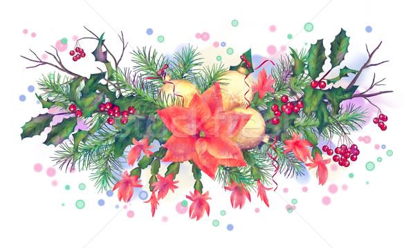 Noël vacances couleur pour aquarelle guirlande décorations blanche Photo stock © kostins