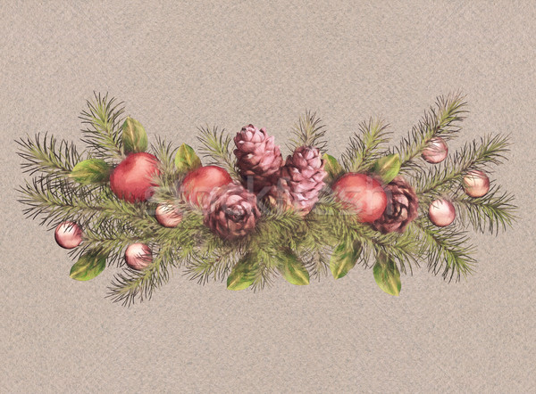 Christmas Holiday Watercolor Garland Stock photo © kostins