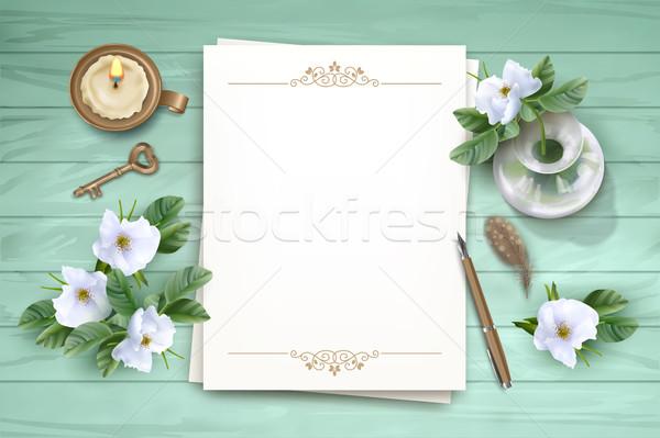 Top witte bloemen vector blanco papier vel Stockfoto © kostins