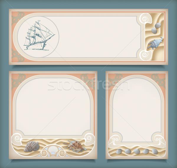 Set of sea vintage vacation frame banners, labels Stock photo © kostins