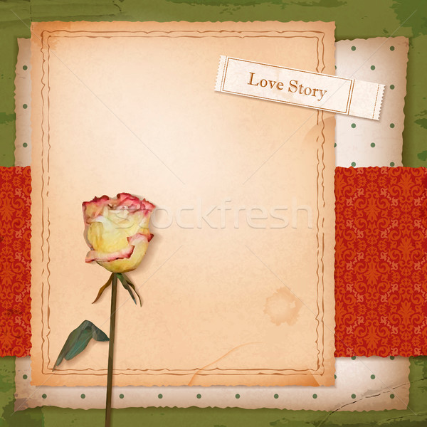 Scrapbook old paper background with dried rose Stock photo © kostins