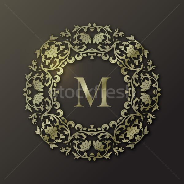 çerçeve monogram dizayn vektör altın moda Stok fotoğraf © kostins