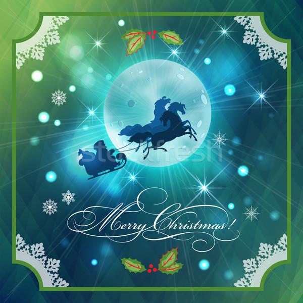 Stock photo: Santa Riding Sleigh in Christmas Night Background