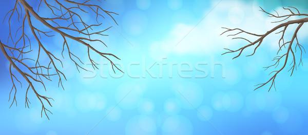 Gökyüzü ağaç panoramik afiş vektör Stok fotoğraf © kostins