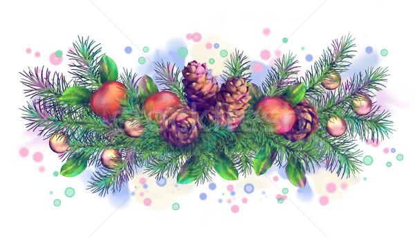 Christmas Holiday Watercolor Border Garland Stock photo © kostins