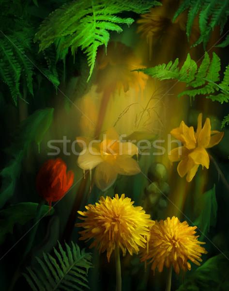 Suluboya boyama çiçekler boya dijital Stok fotoğraf © kostins
